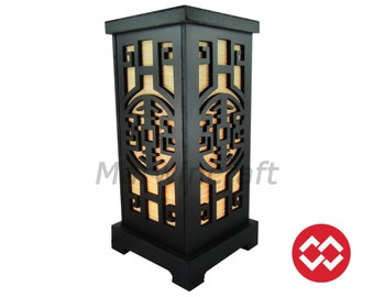 No Screw Design New Asian Oriental Chinese Design Historical Zen Art Bedside Table Lamp Wood Paper Light Shades Gift Living Bedroom Decor