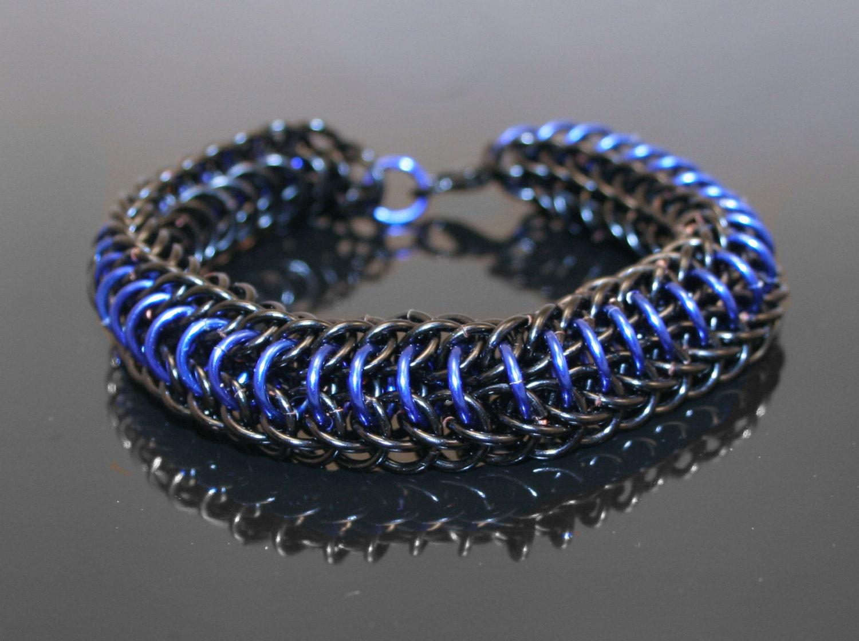 thin blue line dragonback chainmaille bracelet. Black Bedroom Furniture Sets. Home Design Ideas