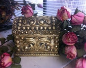Treasure Box A Vintage Gold  Leafed Box With Lid