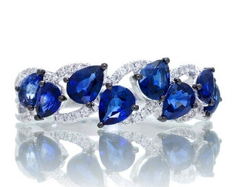 18K White Gold Pear Shape Blue Sapphire and Diamond Anniversary Gemstone Ring Band