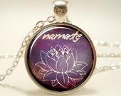 Namaste Necklace, Om Yoga Jewelry, Lotus Zen Pendant (1655S1IN)