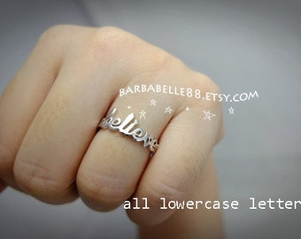 20% off// Font 7 // Lower case letters - Personalized any name ring - Gift box included. Valentine gift- Christmas gift.