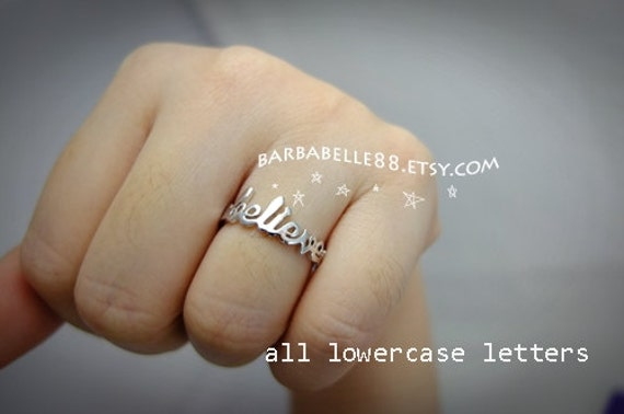 10% off// Font 7 // Lower case letters - Personalized any name ring - Gift box included. Valentine gift.