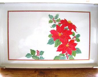 Vintage Otagiri Lacquerware Poinsettia Christmas Holiday Large Serving Tray GOOD