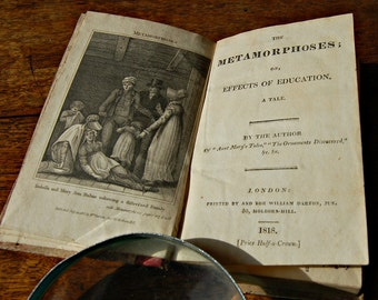 1818 Book The Metamorphoses or Effects of Education by Mrs Mary Hughes Antique childs book