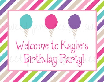 Printable Welcome Sign- Cotton Candy Party