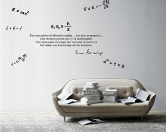 Science art physics Heisenberg's quote and beautiful equations vinyl wall decal for your lab classroom school scientific decor (ID: 121045)