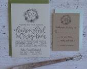 Rustic wreath calligraphy wedding invitation