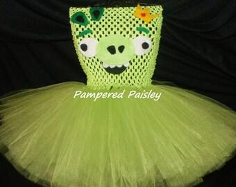 Angry Bird inspired tutu dress - pig tutu  - pig Halloween tutu - Birthday costume size newborn to 10 years - costume