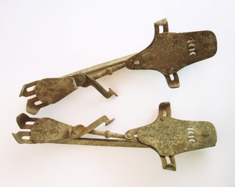 1900s Metal Iceskates - Primitive Styling For Holiday Display - Collectible - Hinged and Still Flexible - Ice Skates