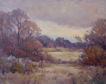 Autumn landscape, Original oil painting by Carl W. Illig.  warm fall, trees. Roycroft, NY