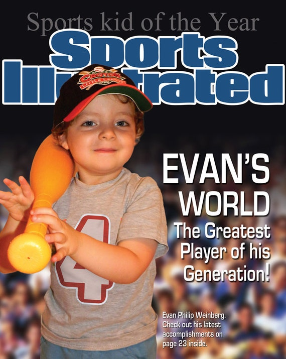 Personalized Sports Magazine Cover Custom Wall Art Print - Your child is the star. For boys or girls.