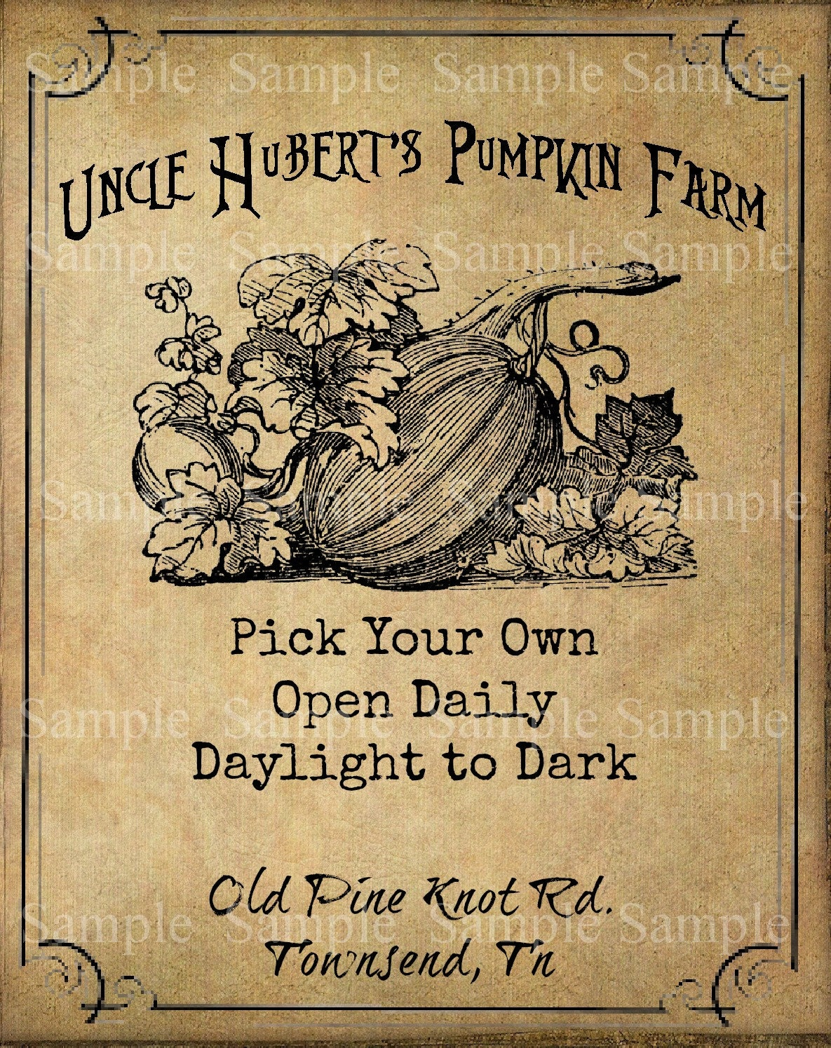 Primitive Uncle Huberts Pumpkin Farm Autumn Feedsack Logo Jar