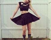 Crushed Velvet Criss Cross Crop Top & Skater Skirt Set with Exposed Zipppers