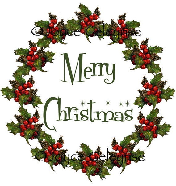 Clip Art, Christmas Wreath: Merry Christmas, Freehand Art, jpg and gif ...