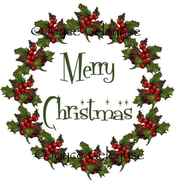 Items similar to Clip Art, Christmas Wreath: Merry ...