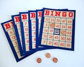 Vintage Bingo Cards Blue Red White Set of 10 Game pieces Altered art supplies Home decor