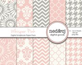 Pink & Grey Digital Paper Pack - Whisper Pink - Pink and Gray Scrapbook Papers - Dandelion Floral Digital Paper