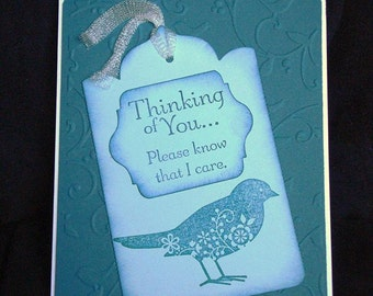 Stampin Up handmade card: Thinking of You Indigo blue Bird Card - masculine card - birthday scallop card - hand stamped by Wcards