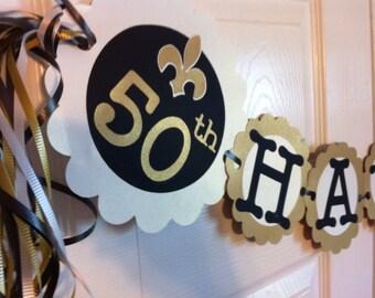 50th Birthday Decorations Party Banner  fleur de lis