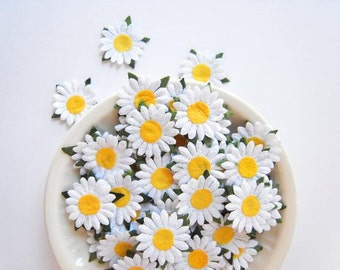 14mm White mulberry paper daisy flowers, embellishments for card making, gift wrapping, album journal.