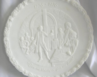 White Satin Milk Glass Bicentennial Plate 1 of 4 - Signed FENTON - Vintage Issued January 1, 1973