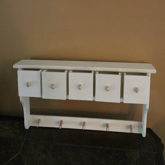 Like this item? - Junk Drawer Wall Shelf With Five Drawers And Hanging Pegs
