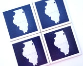 Illinois State Art Print Ceramic Tile Drink Coasters – I Heart Chicago, IL -- Set of 4