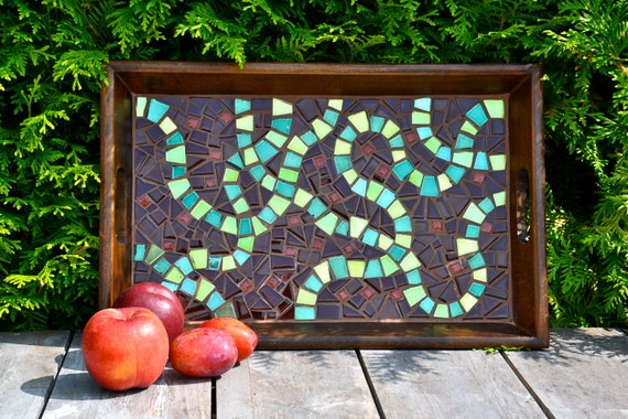 Glass mosaic serving tray green mirror and brown