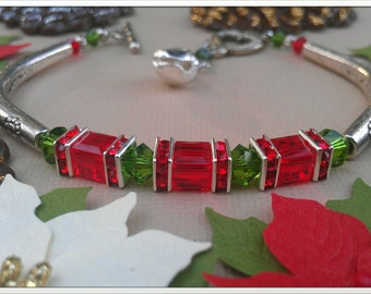Red and Green Christmas Bracelet