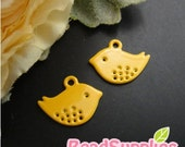 CH-ME-01790- Nickel Free Colored Enameled Petite Bird, egg yolk yellow, 4 pcs