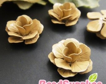 CH-ME-01551 - Color enameled,Layered Rose charm, beige, 4 pcs