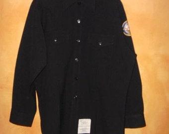 Sale 90s MeNs US NaVy ROTC PoLy / WooL  UniForM SHirT w / PaTcH 17 x 33 XL