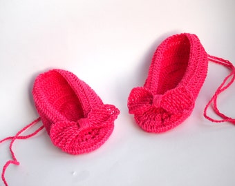 Pink Linen Baby Girl Shoes, Baby Girl Gift, Christening/Blessing Baby Shoes, Made to order