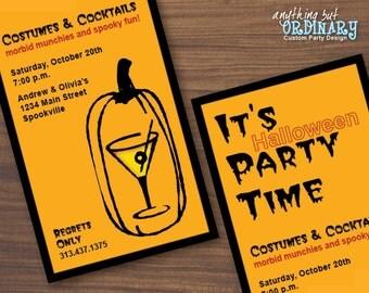 Martini Carved Pumpkin, Adult Halloween DIY Invitation, printable digital file