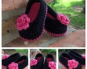 Black and Hot Pink Crocheted Baby Booties w/ Hot Pink Flower Accent Baby Girl Booties, Ballet Slipper Booties, Made to Order