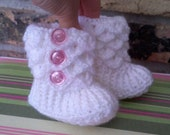 Pink and white crocodile stitch baby booties, 0-6 months and 0-6 months white with pink buttons