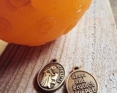 Small St. Francis Pet Charm- Modern Saint Francis Dog Tag- Bless & Protect My Pet Abstract Pendant Medal- Dog or Cat Pet Gift (F5)