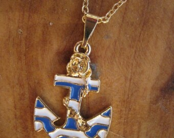 Blue and White Striped Anchor and Rope Necklace - Gold toned Anchor Necklace - Nautical Jewelry - Beach Jewelry