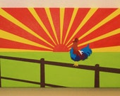 Reserved for Kelly - Sunny Side Up - Original - Acrylic Painting 20x40 Canvas