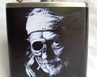 Willie Nelson Flask - Half Skull