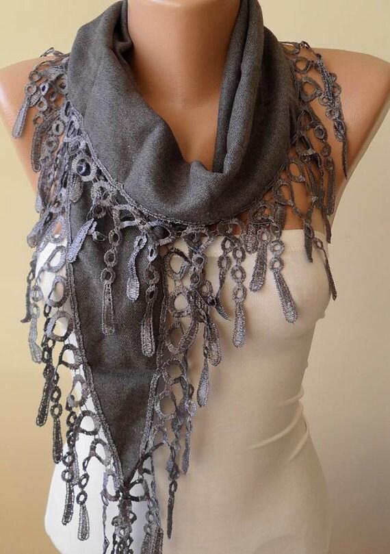 Autumn Scarf - Gray Pashmina Scarf with Gray Trim Edge