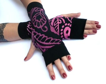 Purple Flowers  Arm Warmers, Fingerless Gloves - Black & purple , Floral Soft Cotton - Yoga Gothic Belly Dance Fusion Light Goth Cycling