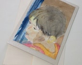 Child, Watercolor card, face, one of a kind, unique, watercolor art mounted on blank card