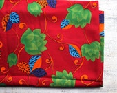 Wide vintage fabric 2.2 yards in 1 listing summer floral dark red green blue floral hippie gipsy boho kitsch - HandyHappyVintage
