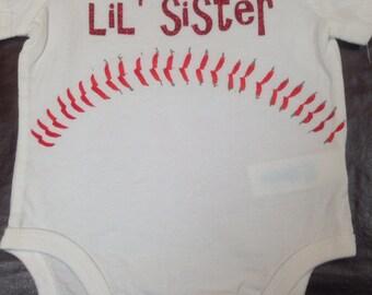 Baseball Lil' Sister Onesie