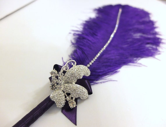 Large Purple Ostrich Feather Pen with Butterfly Brooch / Guest Book Pen / Wedding Reception Accessories / Elegant Purple Feather Pen