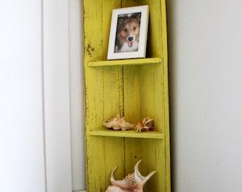 Small Yellow Wood Corner Shelf, Distressed Shelf