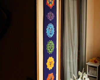 Wall hanging, Chakras Batik Handpainted, yoga decor, small size