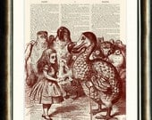 Alice in Wonderland print vintage book page printed on an Antique late 1800s Dictionary page Buy 3 get 1 FREE
